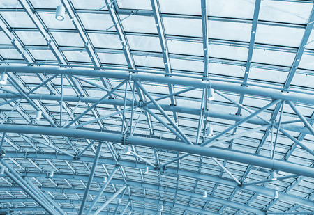 metal structure: metal structures on the roof of the shopping complex background. toning Stock Photo