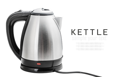Stainless Steel Electric Kettle on the white background photo