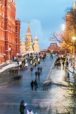 View of the Red Square and St. Basils Cathedral on a winter evening. Russia photo