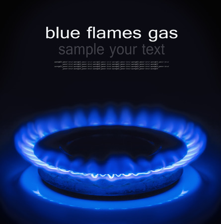 Burning blue gas. Focus on the front edge of the gas burners. The text serves as an example and can be easily removed photo