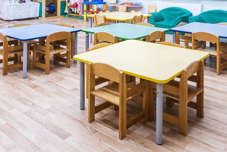 class rooms: childrens furniture and toys in kindergarten
