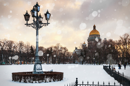 isaac: Saint Isaac cathedral in St Petersburg in the early winter morning, Russia