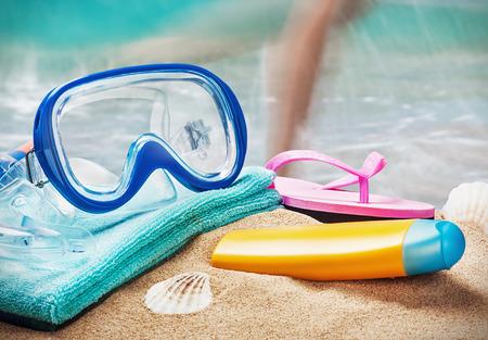 swim mask: mask and snorkel to swim at the beach