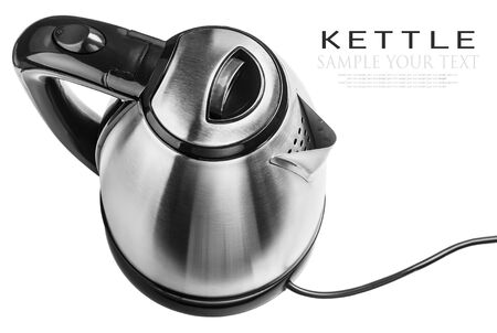 Stainless Steel Electric Kettle on the white background. The text is an example of writing and can be easily removed photo