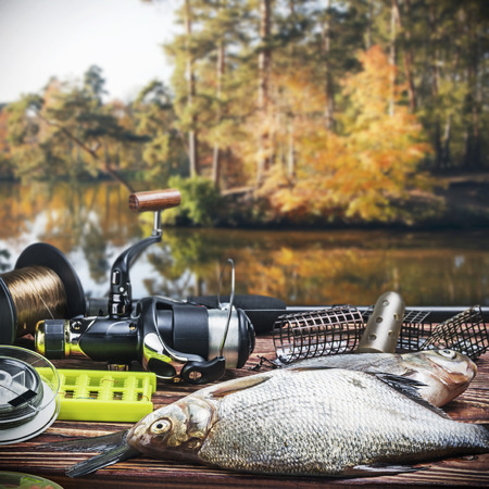 tackle: fishing tackle and caught fish on the table autumn day Stock Photo