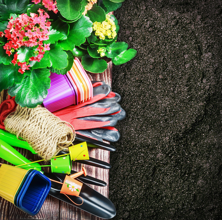 various garden tools in soil. Focus on the gloves in the center photo