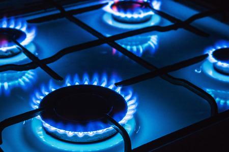 estufa: La quema de gas azul. Enfoque en el borde frontal de los quemadores de gas
