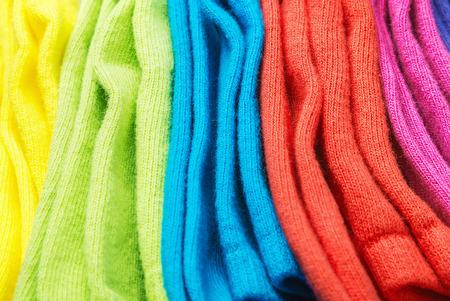 kleurrijke sokken achtergrond. Focus in het midden van het beeld Stockfoto