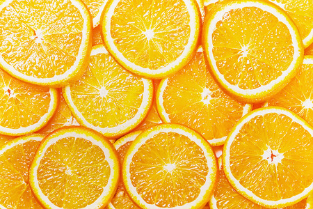 Fresh Natural background with Orange Slice Banco de Imagens