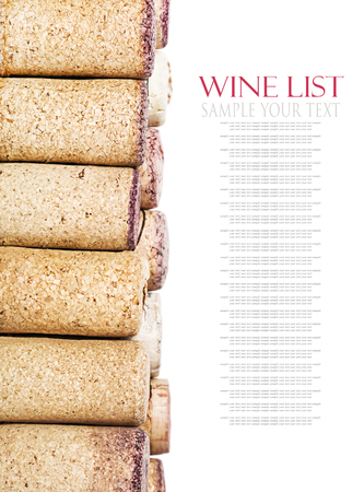 easily: wine corks isolated on white background. for example text and easily removed