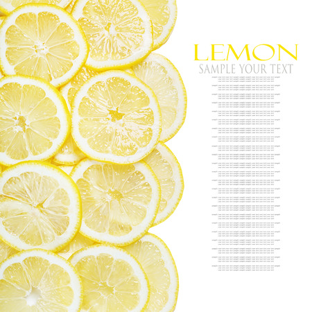 background of heap fresh yellow lemon slices isolated on white background. text is an example of writing and can be easily removed. photo