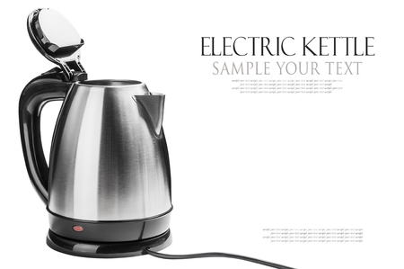 Stainless Steel Electric Kettle on the white background. text is an example of writing and can be easily removed. photo
