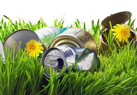 medio ambiente: c�sped sembrado de basura sobre un fondo blanco. centrarse en la basura Foto de archivo