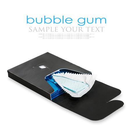 deployed: single bubble gum deployed in standard blue packaging isolated on white. for example text and easily removed Stock Photo