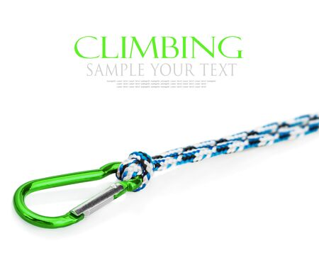 rapell: carabiner and rope climbing equipment isolated on a white. Focus on the carabiner