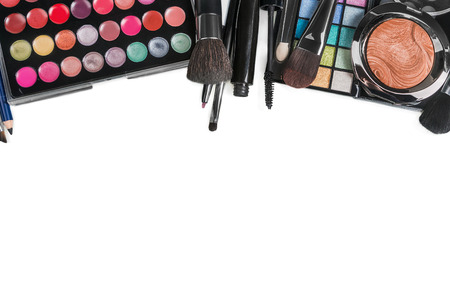 make up products: Colorful make-up products isolated on a white background