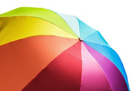 rainbow umbrella: Colorful rainbow umbrella isolated on white background