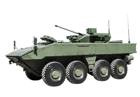 amphibious: armored personnel carrier on a unified platform battle isolated on a white background. Russian military equipment. Editorial