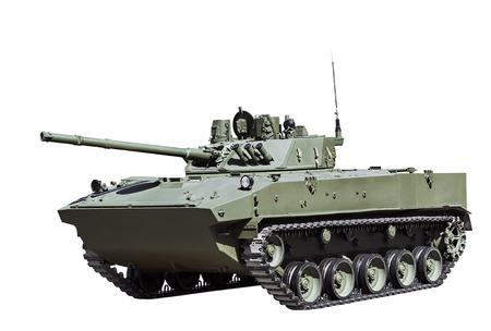 airborne vehicle: Russian airborne fighting vehicle is isolated on a white background