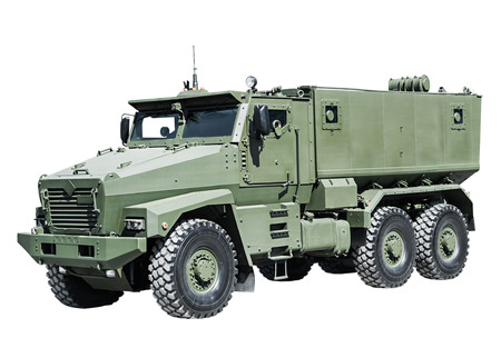 enhanced: Armored Car enhanced security for the transportation of personnel. Russian military equipment Editorial