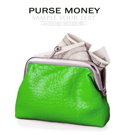 deleted: Purse with hundred euro banknote isolated on white background. Focus is on the purse. Sample text and deleted