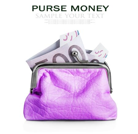 deleted: Purse with hundred euro banknote isolated on white background. Focus on the banknote. Sample text and deleted
