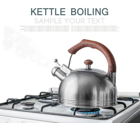 boiling: kettle boiling on a gas stove. Focus on a spout