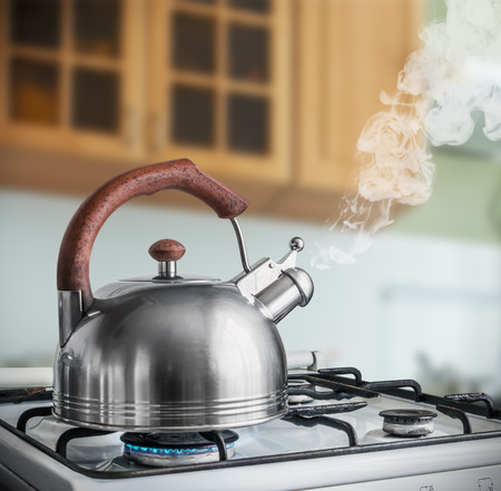 kettle boiling on a gas stove in the kitchen. Focus on a spout 스톡 콘텐츠