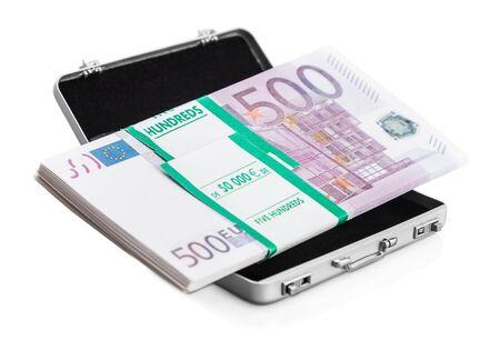 hard stuff: small aluminum suitcase full of euro. Focus on the bills and the European flag