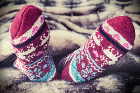 legs: Female legs in Christmas socks under a blanket of fur. toning image