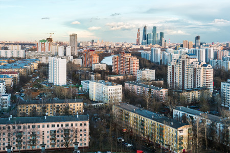 town houses: Hurricane coming into residential areas of Moscow Stock Photo