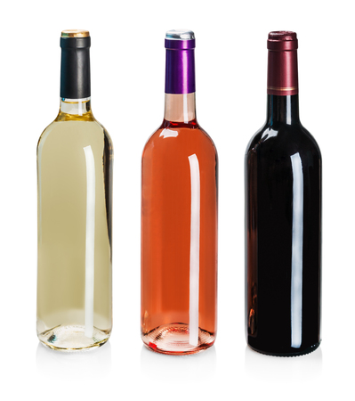 bottles of wine of different types isolated on a white background