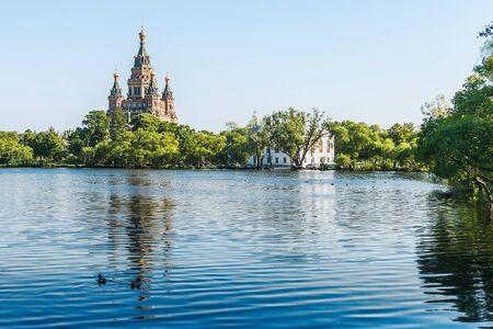 petergof: Church of St. Peter and Paul in the early morning, Peterhof, Saint Petersburg, Russia