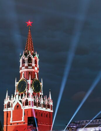 spasskaya: Spasskaya Tower of the Moscow Kremlin in illumination. Focus on tower