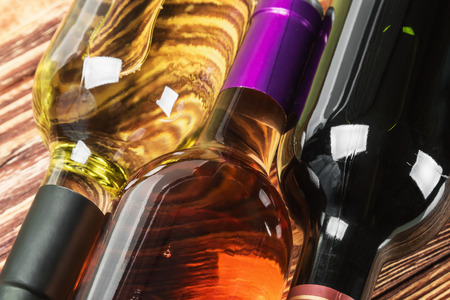 fining: bottles of wine of different sorts