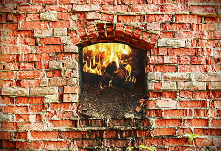 materia: firebox with wood burning brick oven Stock Photo