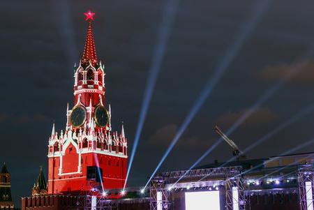 spasskaya: Spasskaya Tower of the Moscow Kremlin in illumination.