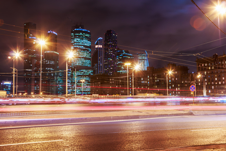 international business center: Night traffic and skyscrapers Moscow International Business Center Moscow-City Stock Photo