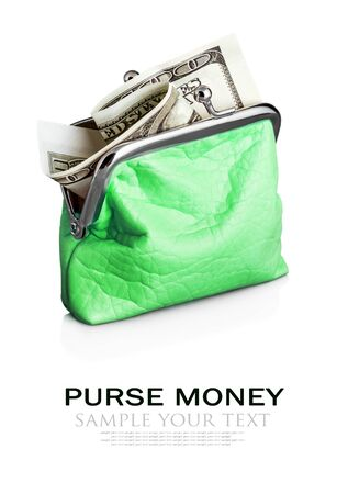 deleted: Purse with hundred dollar banknote isolated on white background. Sample text and deleted Stock Photo