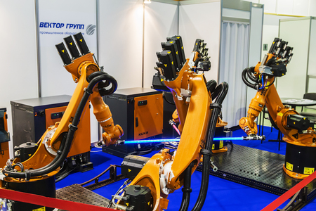 Moscow, Russia, 20 November 2015: The 3rd International Exhibition of Robotics and advanced technologies Robotics Expo in Moscow. Stock Photo