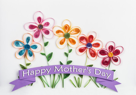 quilling: spring flowers made quilling congratulations on Mothers Day
