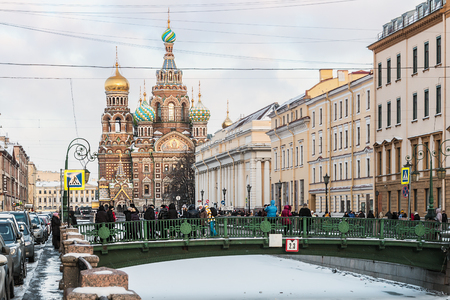 tourism in russia: St. Petersburg, Russia - January 5, 2015: Church of Savior on Spilled Blood (1907) is one of the main sights of St. Petersburg. Russia, winter, dawn. Stock Photo