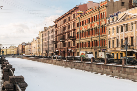 piter: SAINT PETERSBURG, RUSSIA - January 05, 2015: Canal Griboedov in Saint-Petersburg winter morning. The city was founded May 16, 1703 by Peter I. In 1712-1918 years the capital of the Russian state
