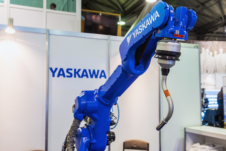 manipulator: Moscow, Russia, 20 November 2015: The 3rd International Exhibition of Robotics and advanced technologies Robotics Expo in Moscow. focus on top of the manipulator