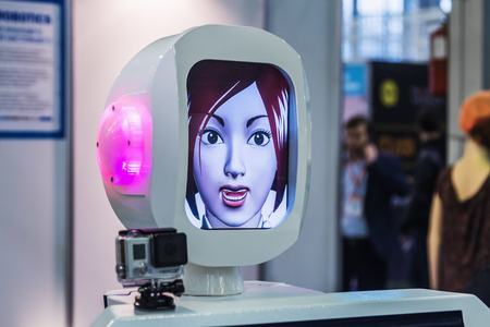 robots: Moscow, Russia, November 20, 2015: The 3rd International Exhibition of Robotics and advanced technologies Robotics Expo in Moscow. Focus on the head