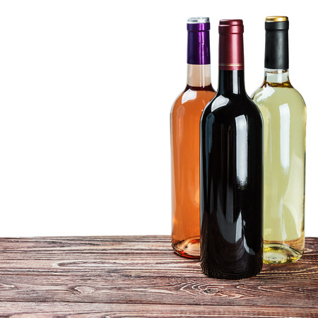 aligote: bottles of wine of different sort of isolated on white background