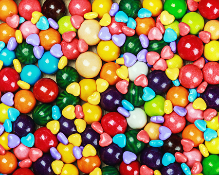 chewing: multicolored candy and chewing gum background