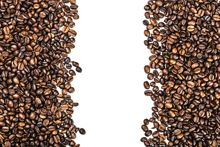 non alcoholic beverage: roasted coffee beans isolated on white background