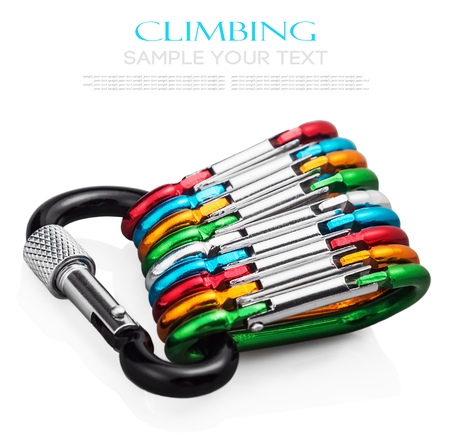 carabiner: colorful carabiner climbing isolated on white background. Stock Photo