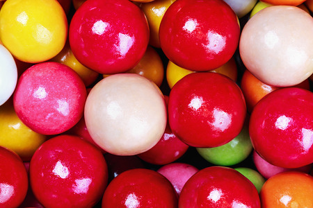 gumballs: balls of colored chewing gum background Stock Photo